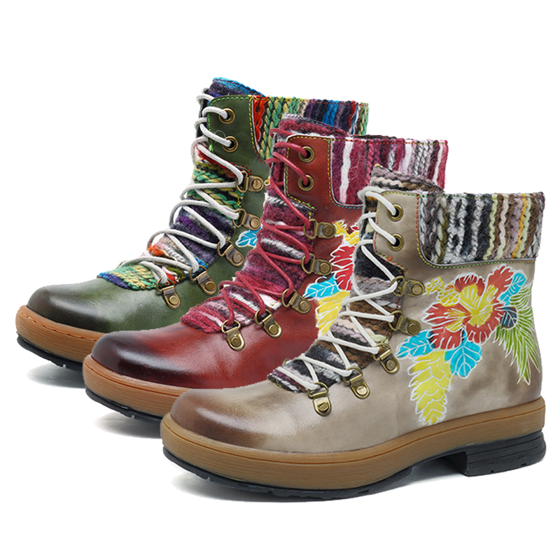 Bohemian Genuine Leather Flower Ankle Boots  1
