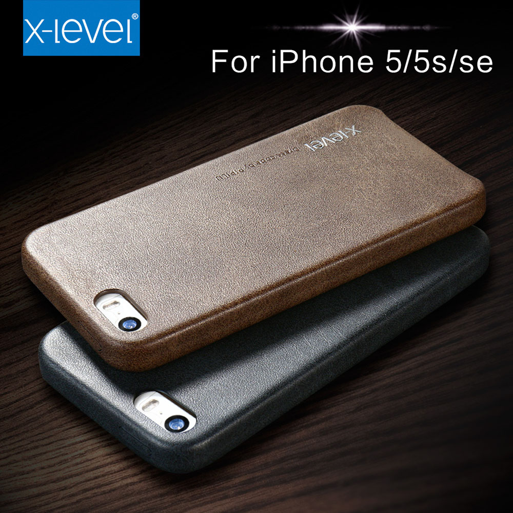 9bad1e4f84 For apple iphone 5 5s se i5 iphone5 cases X Level vintage pu leather+canvas mobile  phone case luxury Simple business cover coque-in Half-wrapped Case from ...