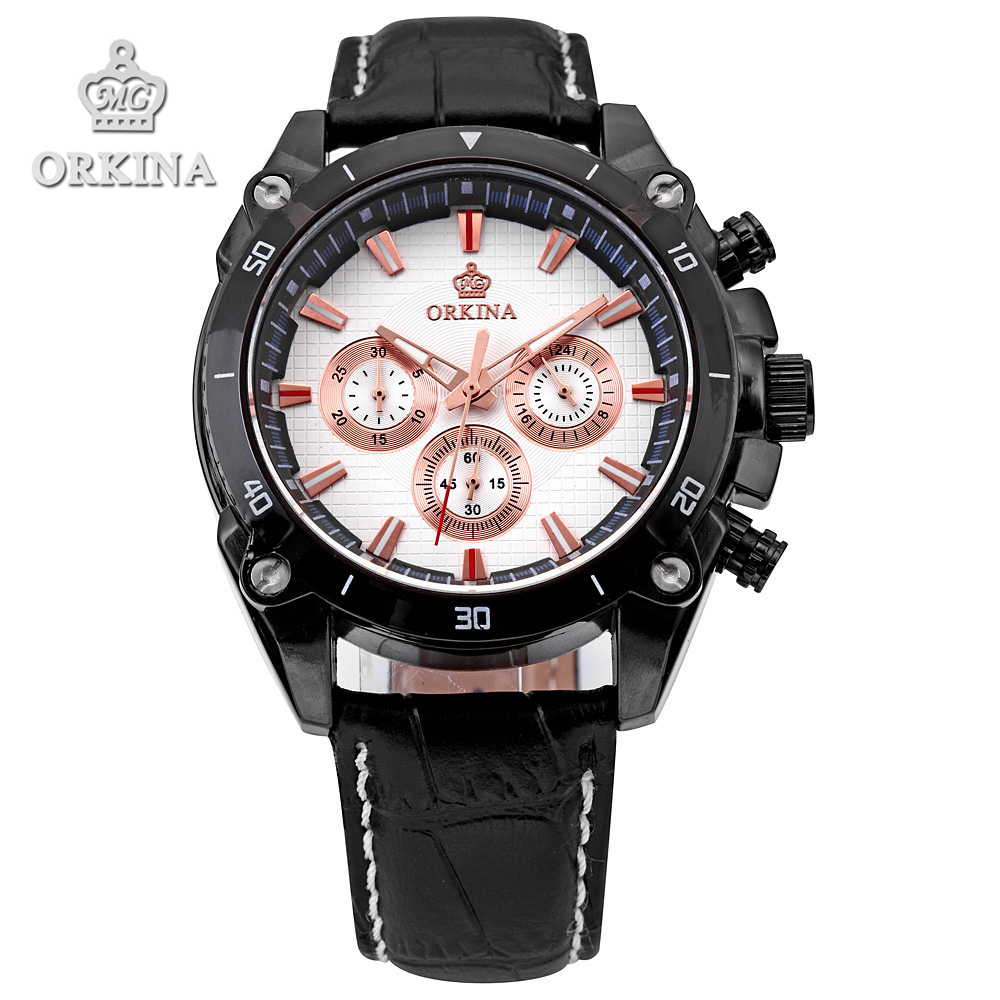 2 Colors Orkina Brands 2016 Sports Stop Analog Quartz Leather Band Black Stainless Steel Case Male Military Casual wrist watches