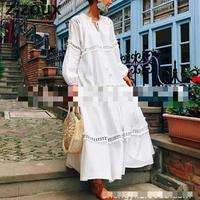 Z ZOUX Women Dress Lace Stitching Loose Long Dress Long Sleeved V Neck White Dress Hollow Out Sexy Dresses Plus Size XXL 2019