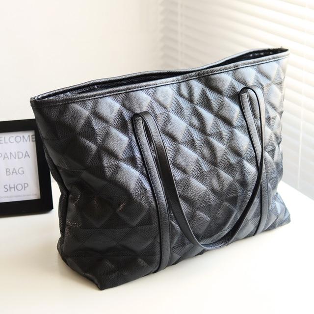 Panda plaid sewing embroidery  women's handbag winter all-match black shoulder bag