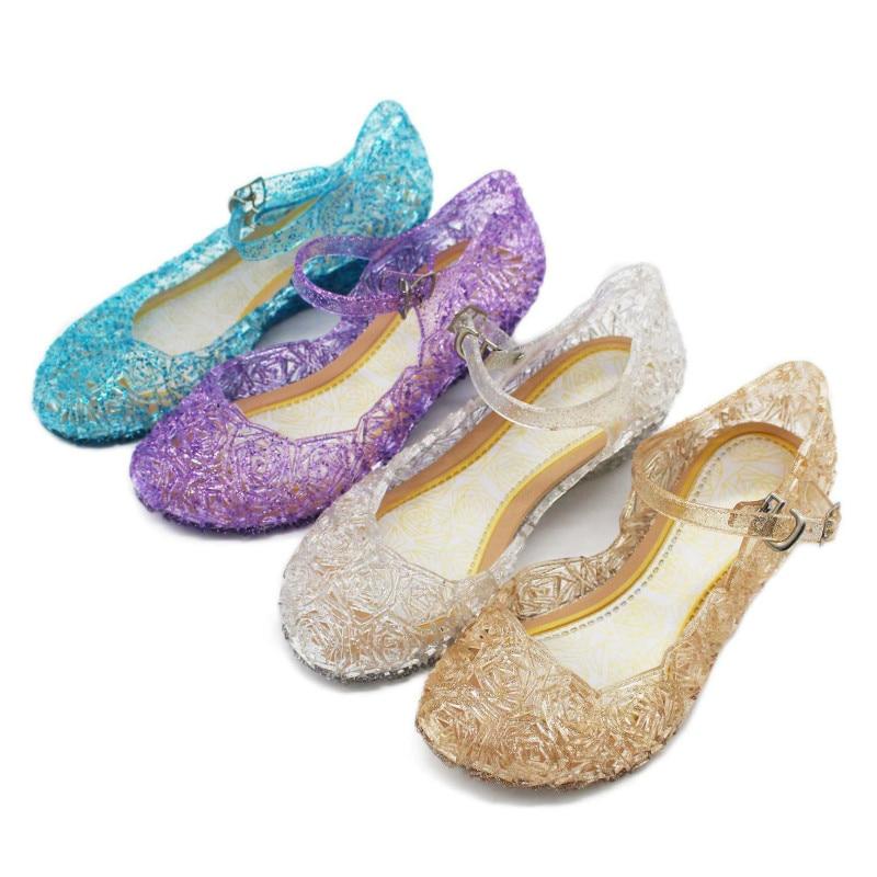 Summer Girls Sandals Children Elsa PVC Sstage Dancing Performance Sandals Kids Princess Party Shoes Princess Cosplay Accessories
