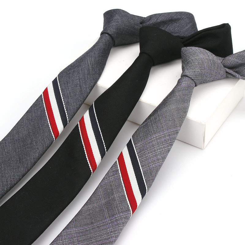 Fashion  British Style  Narrow Tie For Man Leisure Quality Cotton Tricolor Tie  Popular Classic Mens Gravata 6 CM