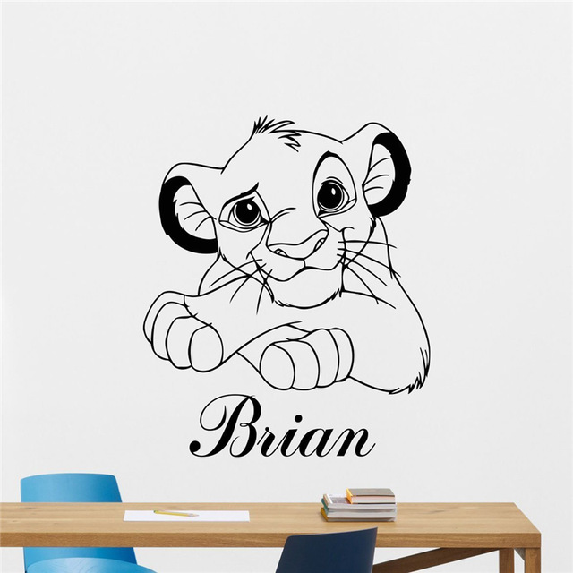 lion king wall sticker custom name cartoons vinyl sticker simba nursery wall decor kids baby. Black Bedroom Furniture Sets. Home Design Ideas