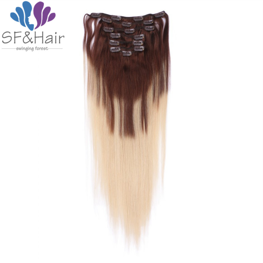 Hot Clip Ins P4 613 Blonde Ombre Hair Silky Straight Clip in Human Hair Extensions 7Pcs Grade 8A Brazilian Clip In Extensions