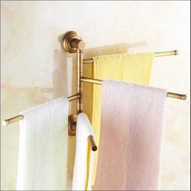 Livraison gratuite en laiton massif Style Vintage Antique en laiton quatre niveaux salle de bain Revolve serviette Bar bain porte-serviettes Rack mural