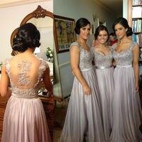 silver grey bridesmaid dresses Long Floor Length Chiffon Sheer Short Sleeve Formal Gown grey silver bridesmaids dresses