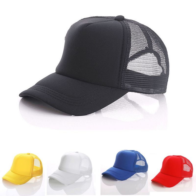 Men Adjustable   Baseball     Cap   Mesh Plain Color   Cap   Trucker Hat Blank Curved Hat