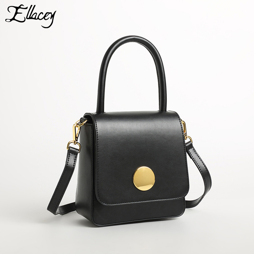 e378cd1a1610 New 2018 Elegant Gold Round Buckle Flap Bag Cow Split Leather Lady Retro  Handbag Mini Shoulder Crossbody Bags Small Square