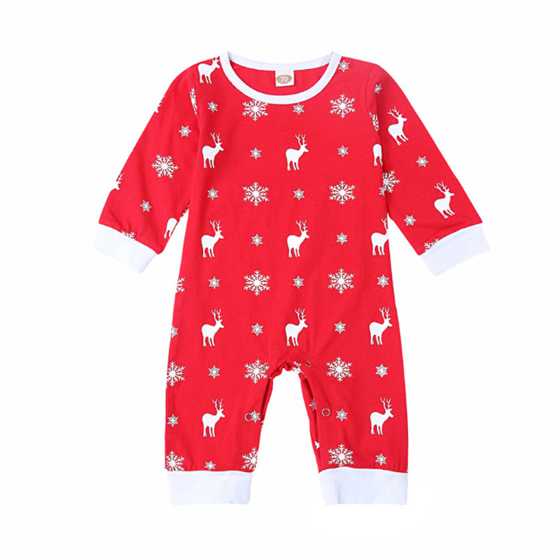 Infant Winter Clothing Baby Girls Boys Jumpsuits Long Sleveve Long Pants O-Neck Cotton Cartoon Snow Elk Pattern For Babys Outfit