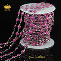 5Meter/Lot Wire Wrapped Beaded Chains Rosary Chain 6mm Fushia Manmade Lampwork Glass Cabochon Druzy Beaded Chains DS002