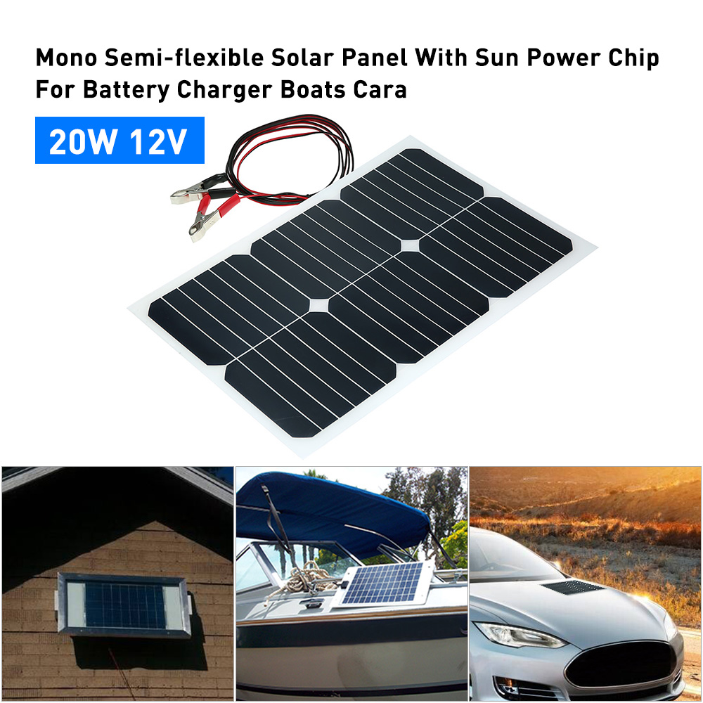 20W 12V Mono Semi-flexible Solarpanel With Sunpower Chip For Battery Charger Boats Cara 20W 12V Semi Flexible Solar Panel