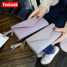 20685dbed46eb YOOLOOK 2019 Fashion Solid Quaste Frauen Geldbörsen Marke Designer Lange  Klassische Frauen Brieftaschen Kupplung Haspe Leder