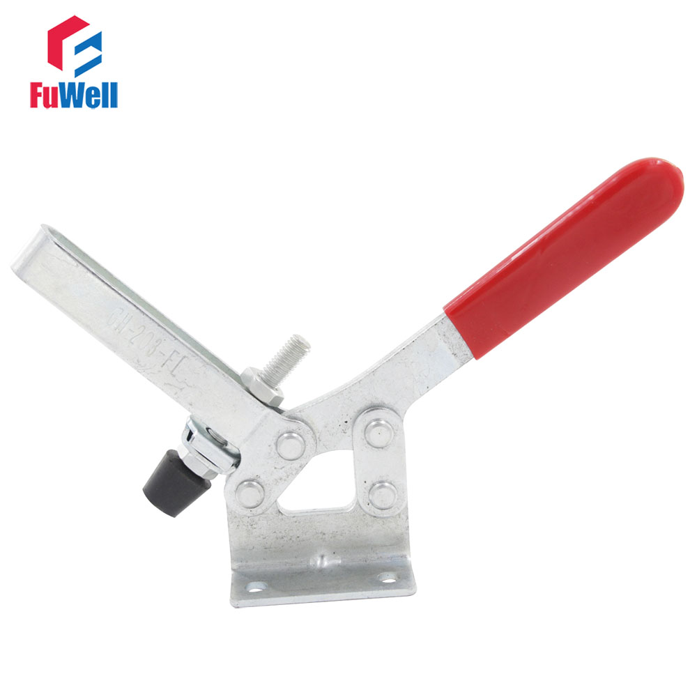 Toggle Clamp GH-203-FL Quick Release Tool Horizontal Holding Capacity 227Kg Fixture Clamp gh 12130 227kg capacity hand tool toggle clamp metal flanged base straight handle toggle clamping latch
