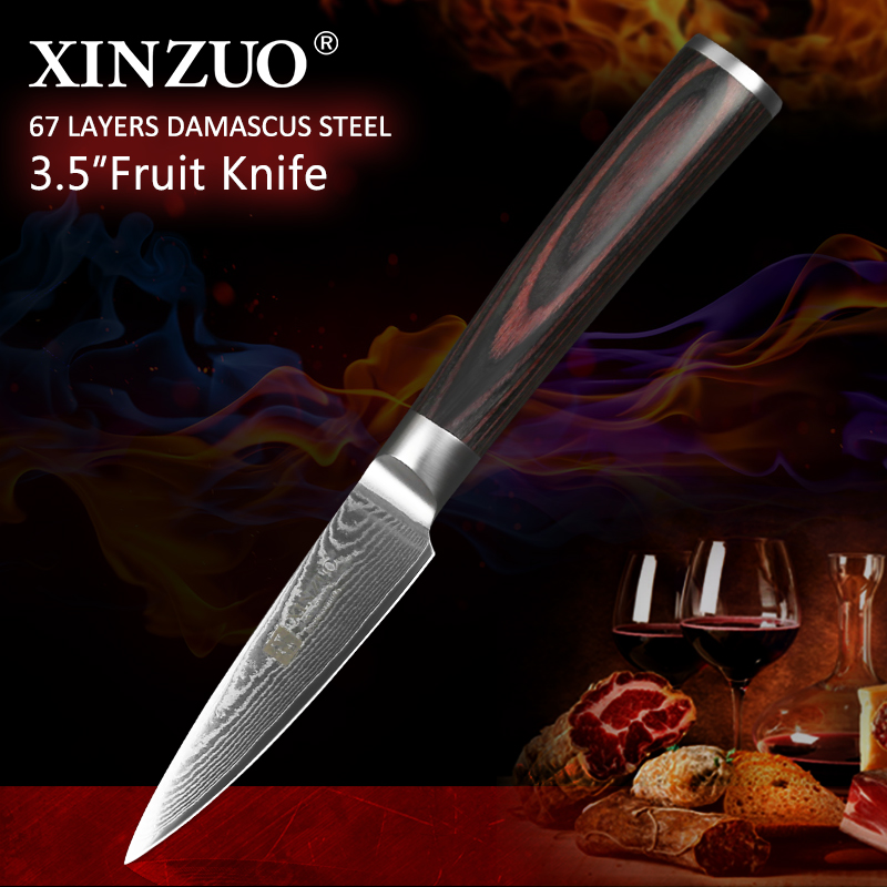 XINZUO 3.5 inch Paring Knife Japanese 67 layer Damascus VG10 Steel Pakkawood Handle Newarrive Kitchen knives Fruit parer knifeXINZUO 3.5 inch Paring Knife Japanese 67 layer Damascus VG10 Steel Pakkawood Handle Newarrive Kitchen knives Fruit parer knife