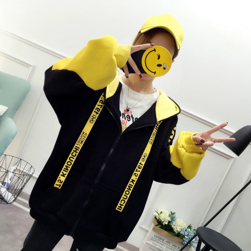 Patchwork Hoodie Pullover Woman Long Sleeve Hooded Sweatshirt 2019 Kpop Autumn Harajuku Tracksuit Sudaderas Mujer streetwear 33