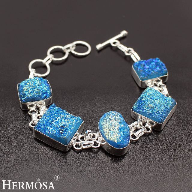 hermosa  jewelry Real 925 sterling silver natural blue Druse stylish atmosphere bracelet  8'' HF144