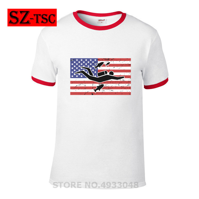 Scuba Dive American Flag Best Gift for Diver T-Shirts Summer Short Sleeves Soft Mens Tee Shirts Pure Cotton T Shirts image