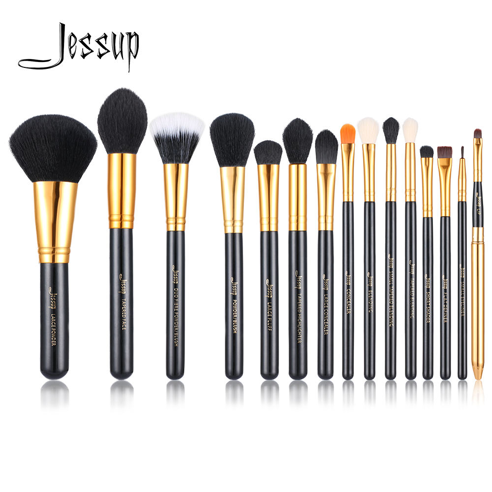 Jessup 15pcs Makeup Brushes brush Set make up Cosmetic beauty Powder Foundation Eyeshadow Eyeliner Lip Brush Tool Black / Gold jessup brushes 10pcs rose gold black face makeup brushes set beauty cosmetic make up brush contour powder blush