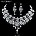 Mecresh Real Luxurious Fox & Teardrop Crystal Necklace Earrings Bridal Jewelry Sets Wedding Accessories Wedding Jewelry TL205