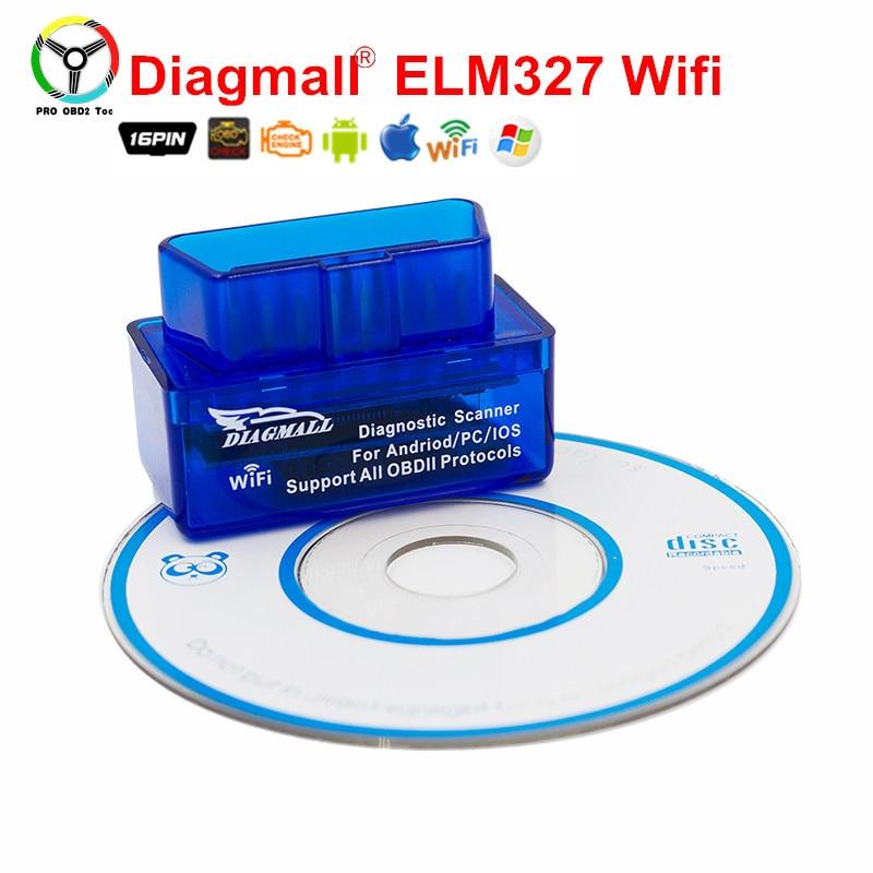 Diagmall Супер Мини WiFi 25K80 чип для всех OBD2 протоколы лучше, чем ELM327 ELM 327 V1.5 OBDII автомобиля код сканер android IOS