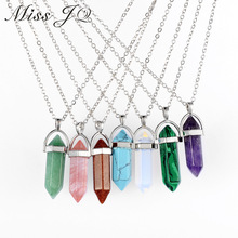Vintage Bullet Quartz Crystal Necklace Pendant For Women Silver Chain Natural Stone Necklaces & Pendants Fashion Jewelry Bijoux
