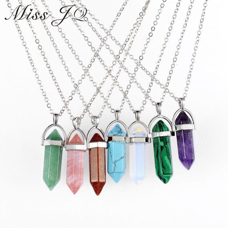 Vintage Bullet Quartz Crystal Necklace Pendant For Women Silver Chain Natural Stone Necklaces & Pendants Fashion Jewelry Bijoux