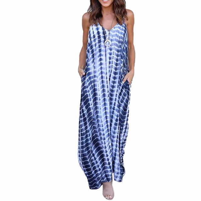 9ac83e93d6342 2018 Summer Women Long Maxi Dress Striped Printed Sleeveless V Neck Strappy  Beach Dresses Ladies Loose Straps Sundress-in Dresses from Women's ...