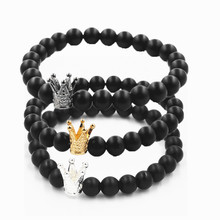 Natural volcanic stone beaded bracelet fashion alloy crown ladies jewelry bead wholesale