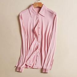 50% Seide 50% Viskose frauen Stretchy Kragen Shirt Basis Schicht Langarm T-Shirts Top OT000