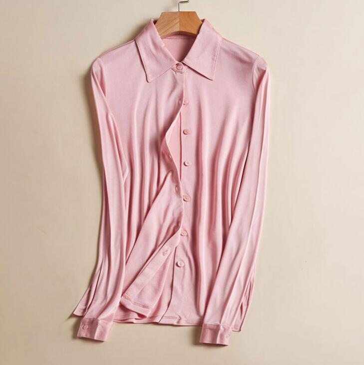 50% soie 50% Viscose femmes col chemise extensible couche de Base à manches longues T-Shirts Top OT001