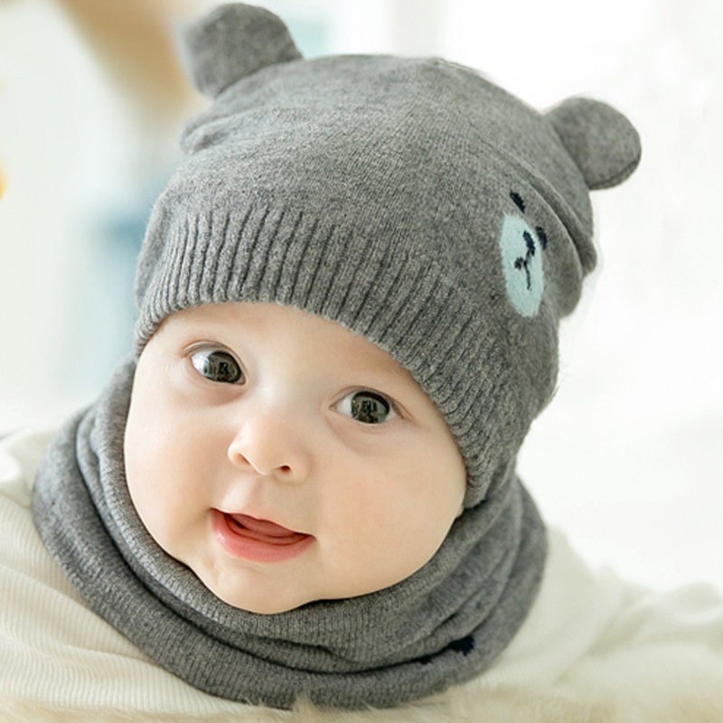 2 Pcs Autumn Winter Newborn Baby Knit Hat Scarf Set Cartoon Bear Kids Boys Girls Winter Beanie Hat Scarf Set 0-18M