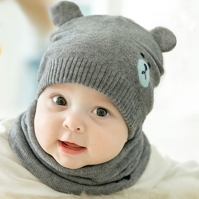 2 Pcs Autumn Winter Newborn Baby Knit Hat Scarf Set Cartoon Bear Kids Boys  Girls Winter Beanie Hat Scarf Set 0-18M 9a00abe245c