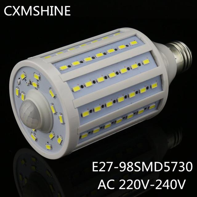 5730 98led lâmpadas De sensor de Movimento PIR lâmpada de Milho E27 25 W 220 V Branco Frio/Quente Corpo sensores LED Luz milho