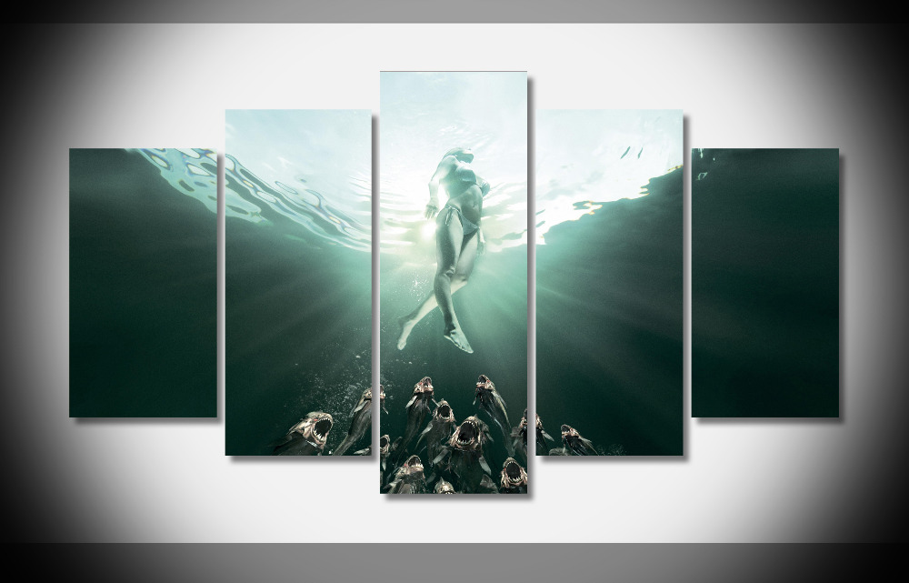 4971 Piranha Movie Poster Dark Horror Posters Print Home Decor Stretched  Framed Gallery Wrap Art Print Home Canvas Decor In Painting U0026 Calligraphy  From Home ...