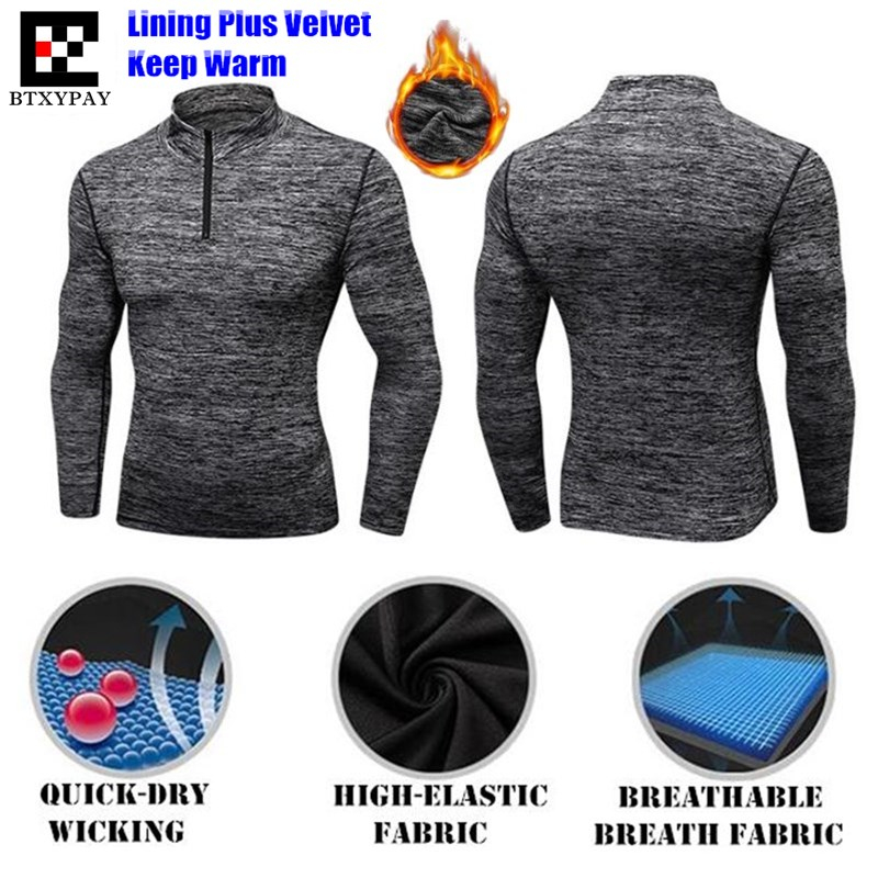 120p Men Shapers Turtleneck Sweatshirts 3D Tight Elastic Quick-dry Wicking Fitness Long Sleeves Fleece O-Collar Zipper Slim Tops