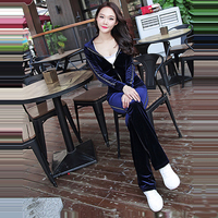 Spring / Fall 2018 PINK Women's Brand Velvet fabric Tracksuits Velour suit women Track suit Hoodies and Pants SIZE S XL