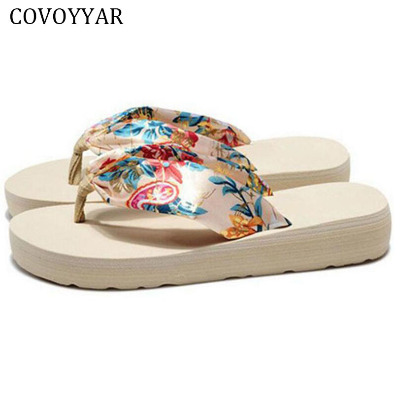 2018 Bohemia Flowers Ladies Sandals Fashion Platform Wedge Women Shoes Summer Beach Flip Flops Slippers Plus Size 40 WSS147 covoyyar 2018 fringe women sandals vintage tassel lady flip flops summer back zip flat women shoes plus size 40 wss765