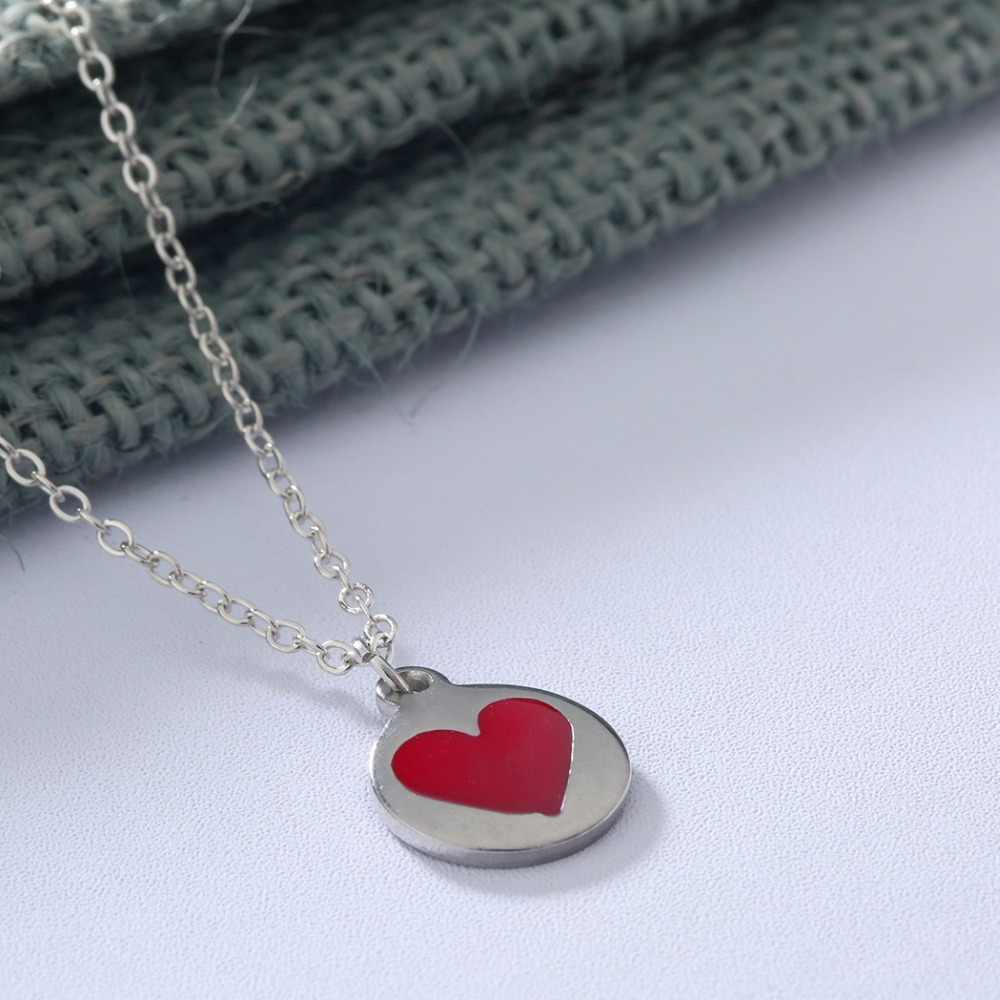 Cxwind Red Heart Charm Necklace Stainless Steel Heart Necklaces & Pendants for Women Design Choker Jewelry Gift for Couples