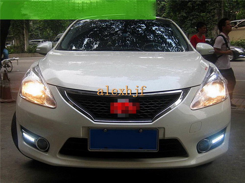July King LED Daytime Running Lights With Fog Lamp Cover, LED Front Bumper DRL Case for Nissan Pulsar new Tiida 1:1 replacement july king led daytime running lights drl case for honda crv cr v 2015 2016 led front bumper drl 1 1 replacement