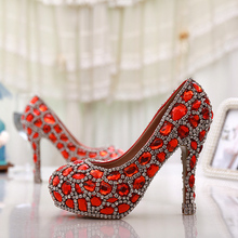 Handmade Glitter Red Crystal Gems Bridal font b Shoes b font Bling Rhinestone Party Prom font