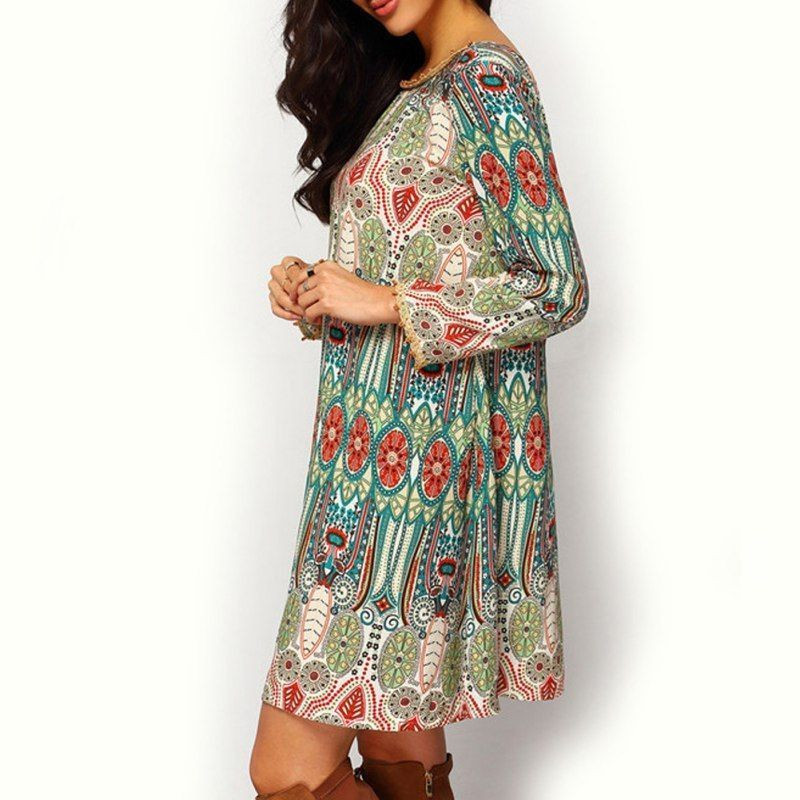 Boho Women Autumn Hippie Ladies Party Evening Beach loose Casual mini dress Long sleeve ethnic style