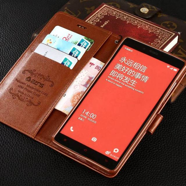 Vintage Flip Stand PU Leather Wallet Case For Xiaomi Redmi Note 1 / Redmi Note 2 / Redmi Note 3 / Redmi Note 4 4X Luxury Cover