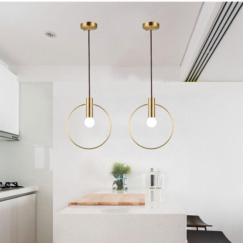 Post modern single head Full copper Pendant lights foyer restaurant Light Gold luxury E27 LED Nordic droplight lighting fixture in Pendant Lights from Lights Lighting