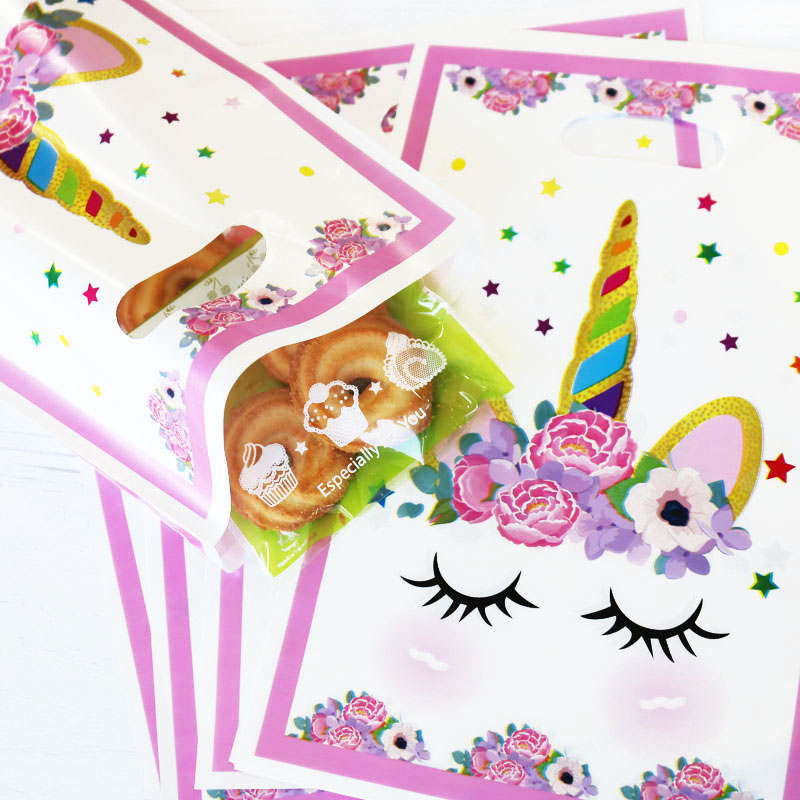20pcs Unicorn Plastic Bag Rainbow Stars Pink Gift Loot Bags Cookies Candy Packing Bag Unicorn Party Decoration Gift Plastic Bags