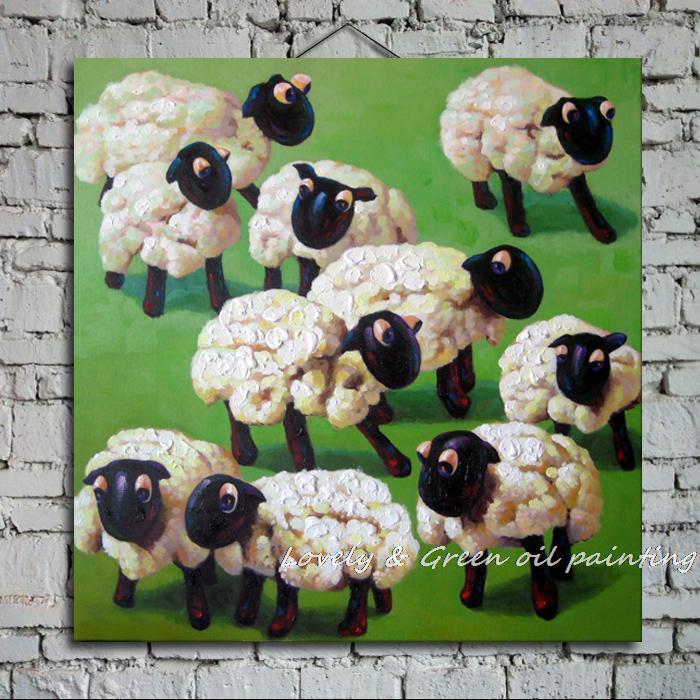 Расписанную животных изображение картины маслом Панель Статуэтка Овцы животного живопись маслом на холсте для украшения дома