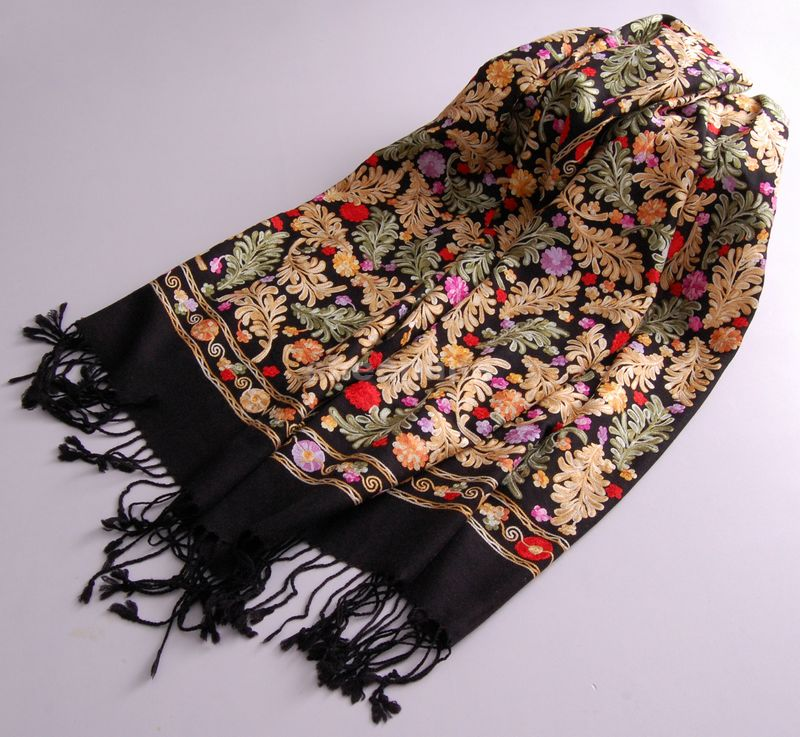 12 Designs Top Quality Ethnic Embroidery Wool Silk Shawl Vintage Pashmina Quality Long Scarf Light Warm