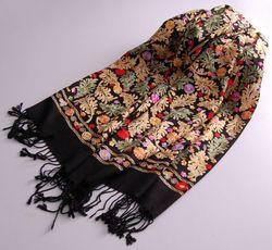 12 Designs Top Qualität Ethnische Stickerei Wolle Seide Schal Vintage Pashmina Qualität Lange Schal Licht Warme Winter Schal Wrap
