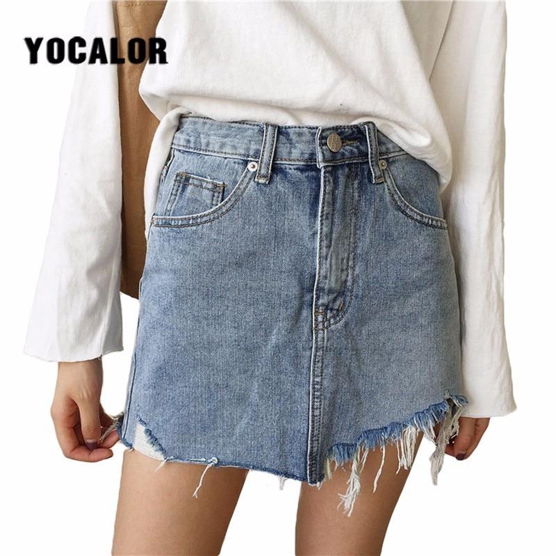 2018 Summer Holes Wash Denim Short Skirts Womens Streetwear Mini Female Jeans Asymmetrical Skirt School Korean Kilt Schoolgirl