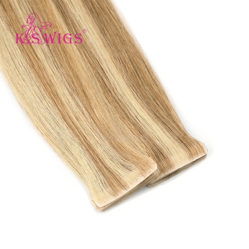 K.S WIGS Remy Human Hair Straight PU Skin Weft Hand Tied Tape In Double Drawn Human Extensions Piano Color 20''